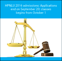 HPNLU 2016 admissions: Applications end on September 20; classes begins from October 1