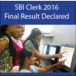 SBI Clerk 2016 Final result declared on October 27