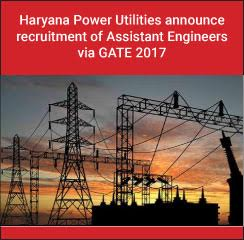 Haryana Power Utilities Recruitment of Assistant Engineers through GATE 2017