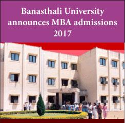 Banasthali University announces MBA admissions 2017