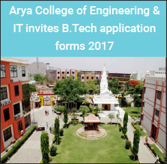 Arya College of Engineering & IT invites B.Tech application forms 2017