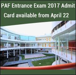 PAF Entrance Exam 2017 Admit Card available from April 22