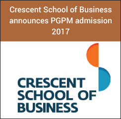 Crescent School of Business announces PGPM admission 2017