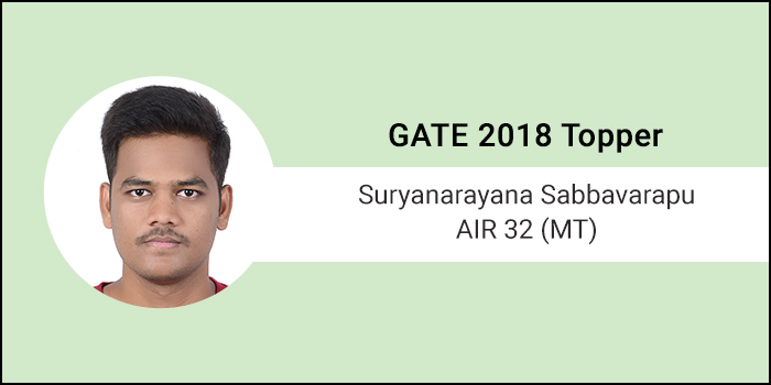 """GATE 2018 Topper Interview Suryanarayana Sabbavarapu AIR 32 (MT) - """"There is no elevator to success, you have to take the stairs"""""""