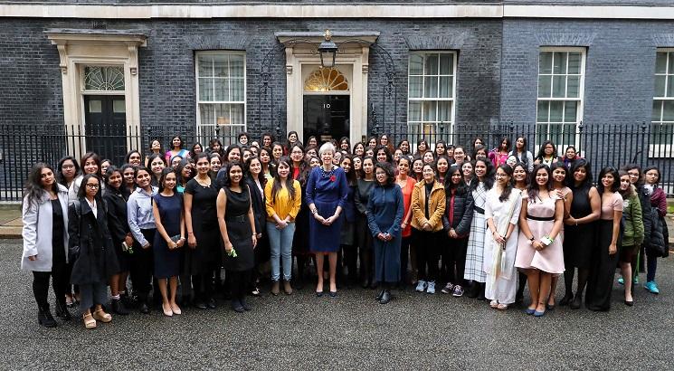 UK Prime Minister Theresa May felicitates 104 Indian Women STEM Scholars