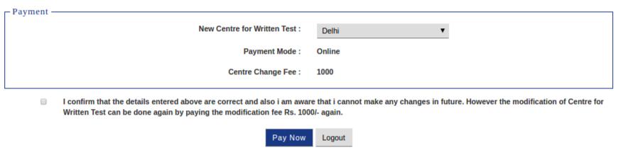 IIFT 2019 exam centre change payment
