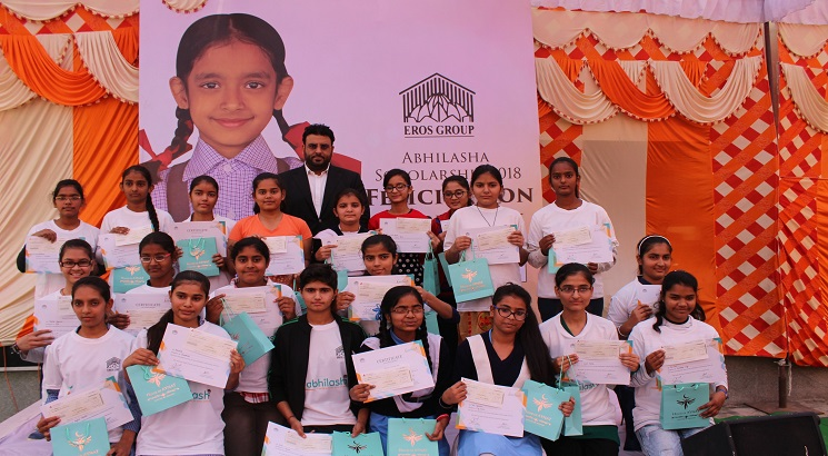 EROS Group felicitates 25 girl students with Abhilasha Scholarship