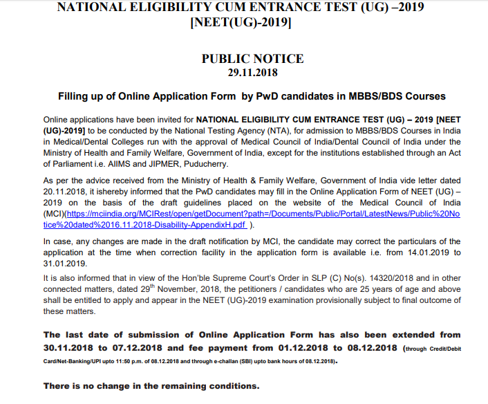 NTA notice for PwD candidates
