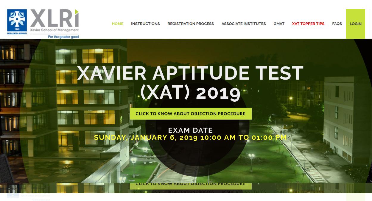 XAT 2019 Login Page