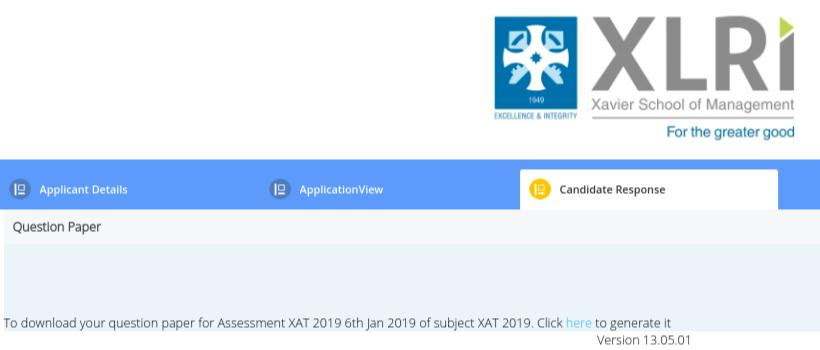 XAT 2019 Candidate Response Sheet Download