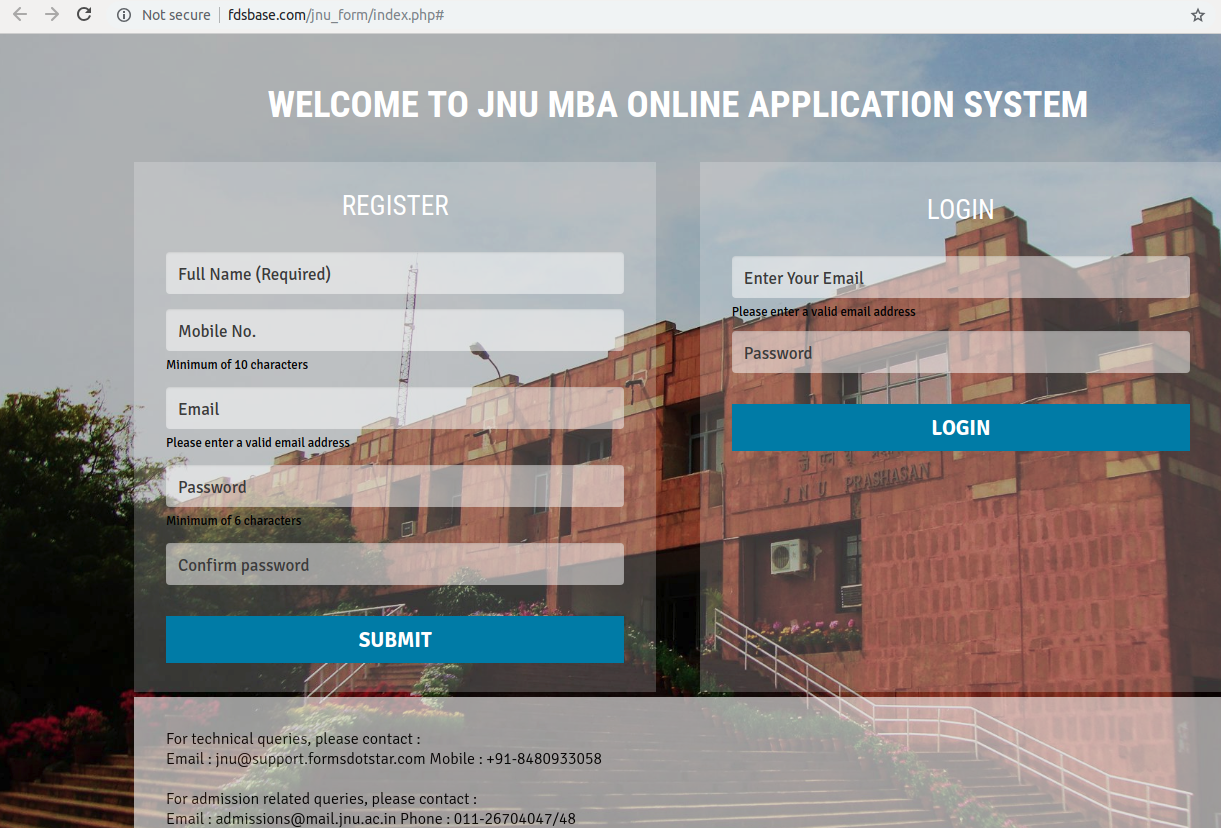 JNU MBA Admission Process 2019