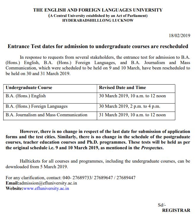 EFLU 2019 exam dates rescheduled | Careers360