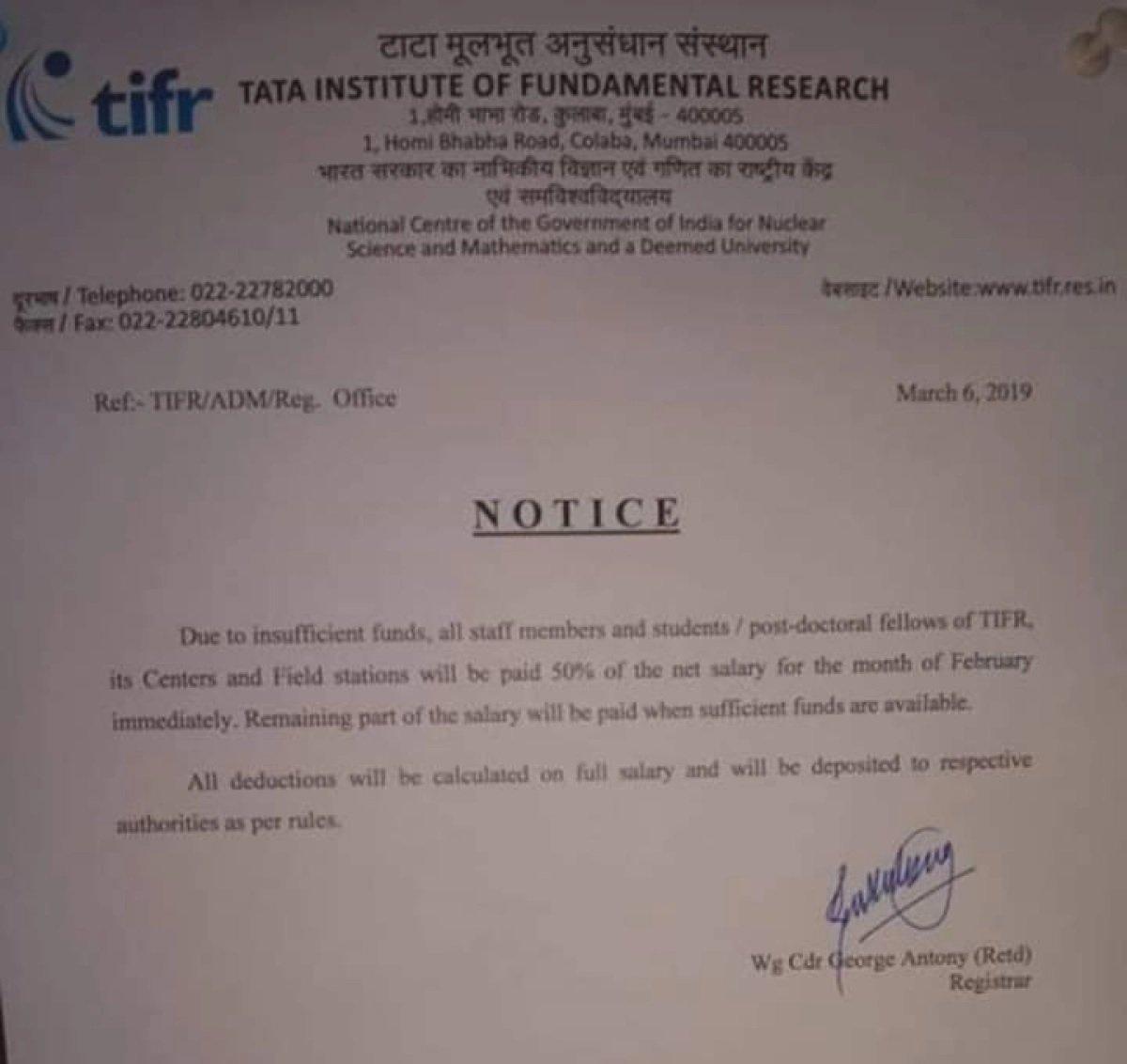 TIFR Official Letter Half Salary Feb