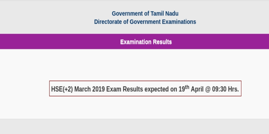 Tamil Nadu 12th result 2019 declared @tnresults nic in