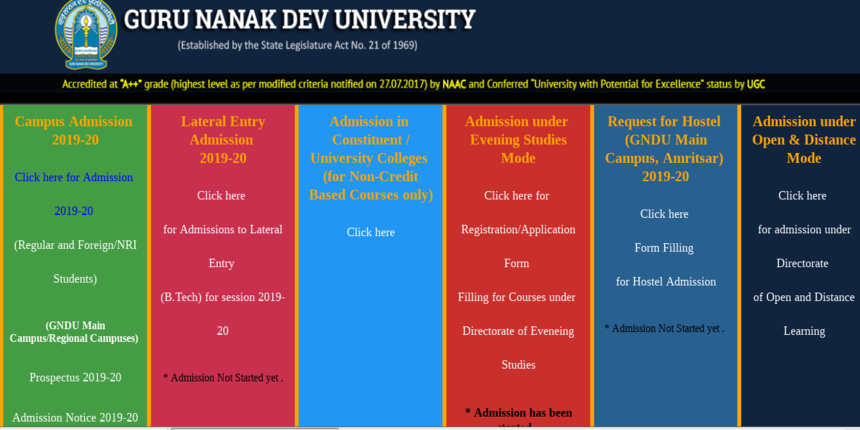 GNDU Admissions 2019: Registration process started for UG, PG and Diploma Courses