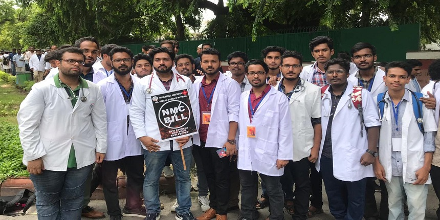 NMC Bill: Medicals students protest outside Health Ministry demanding Bill rollback