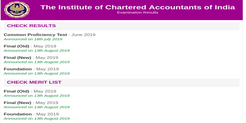 ICAI declares CA Final and CA Foundation result for May 2019 session