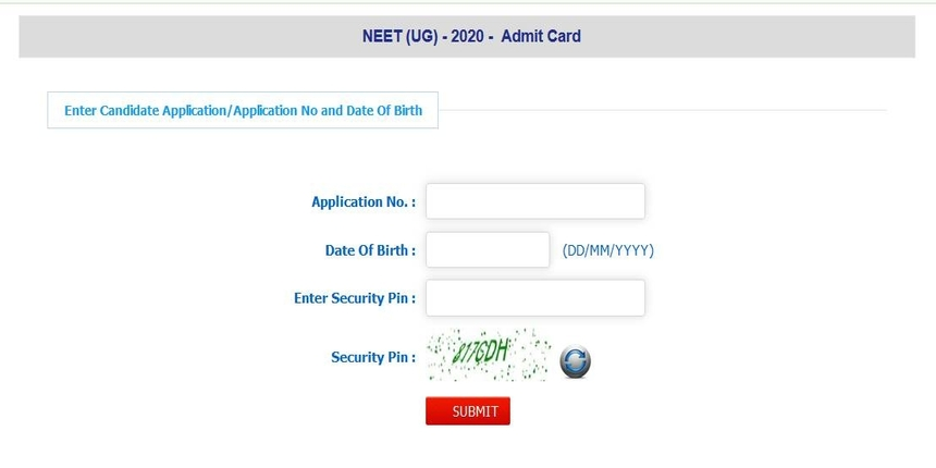 When will NEET 2020 admit card be released?