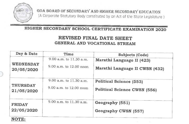 Goa-board-time-table-HSSC