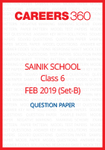 Sainik School 2019 Question paper for Class 6 Set-B (February 24)