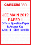 JEE Main 2019 Paper 1 Official Question Paper and Answer Key - January 11