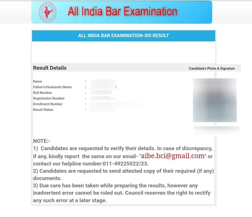 AIBE Result 2019 - Download AIBE XIV (14) Score Card Here