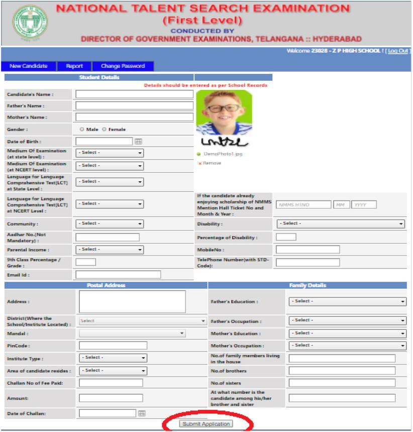 NTSE-Telangan-application-form