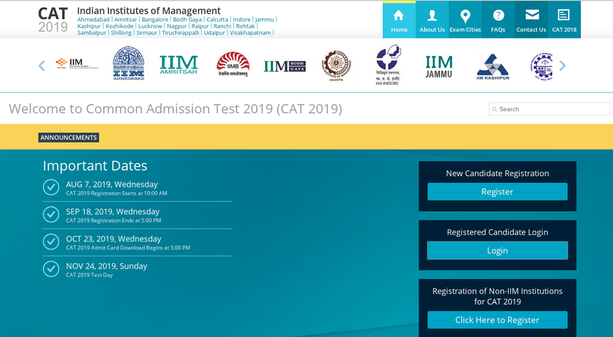 CAT 2019 - Registration (Open), Dates, Eligibility, Syllabus