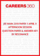 JEE Main 2019 Paper 1 April 9 Afternoon Session Question Paper & Answer Key by Resonance