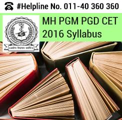 MH PGM PGD CET 2016 Syllabus
