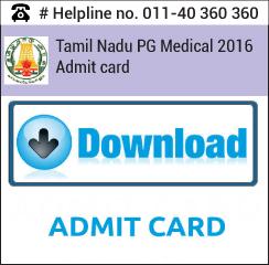 Tamil Nadu PG Medical 2016 Admit Card