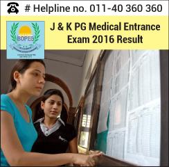 J&K PG Medical Entrance Exam 2016 Result