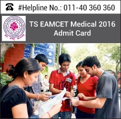 TS EAMCET Medical 2016 Admit Card