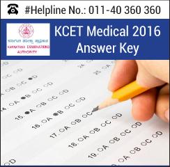 KCET Medical 2016 Answer Key