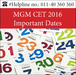 MGM CET 2016 Important Dates