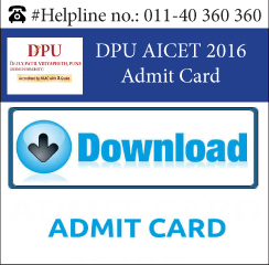 DPU AICET 2016 Admit Card