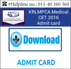 KRLMPCA Medical CET 2016 Admit card