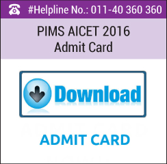 PIMS AICET 2016 Admit Card