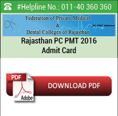 Rajasthan PC PMT 2016 Admit Card