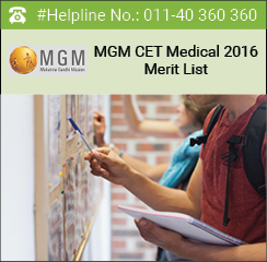 MGM CET Medical 2016 Merit List