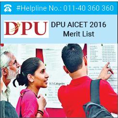 DPU AICET 2016 Merit List