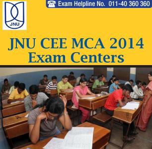 JNU CEE MCA 2014 Examination Centers
