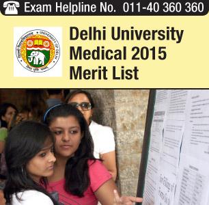 Delhi University MBBS/ BDS Admission 2015 Merit List