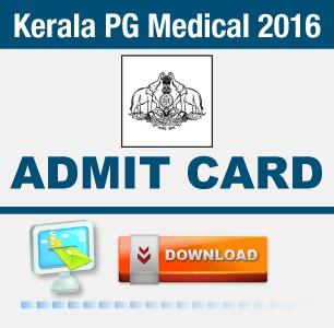 Kerala PG Medical 2016 Admit Card
