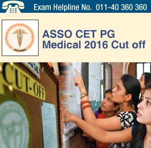 ASSO CET PG Medical 2016 Cut off