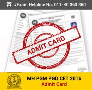 MH PGM PGD CET 2016 Admit Card
