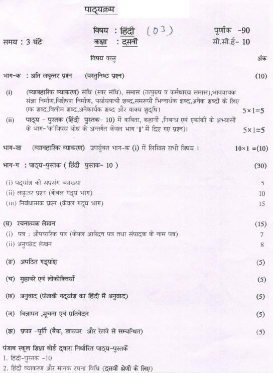 PSEB-10th-Syllabus-Hindi