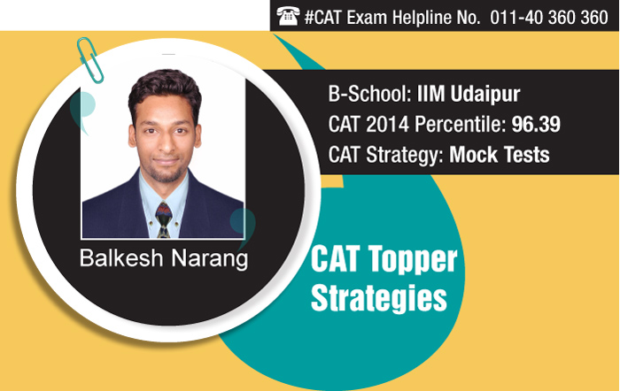 CAT Topper Balkesh shares his 'Strategy Building' technique for CAT 2015