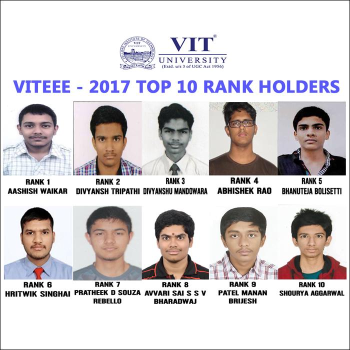 VITEEE 2017 Toppers - Aashish Waikar tops the list; Shreya Sharma leads female candidates at rank 16!