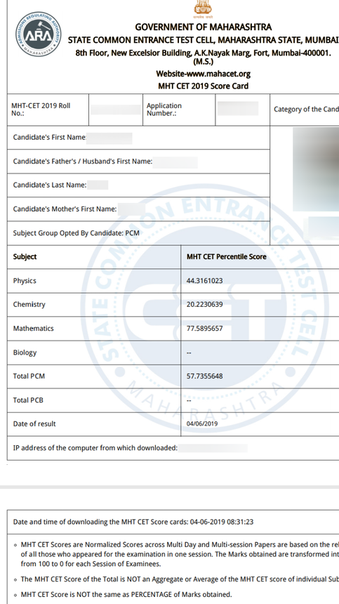MHT CET Result 2019, Score Card (Declared) - Check Scores and Rank